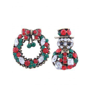 2PCS Rhinestone Christmas Wreath Snowman Brooches - GREEN GREEN