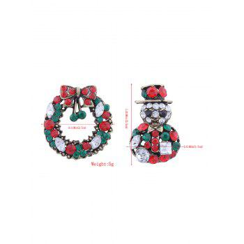2PCS Rhinestone Christmas Wreath Snowman Brooches -  GREEN