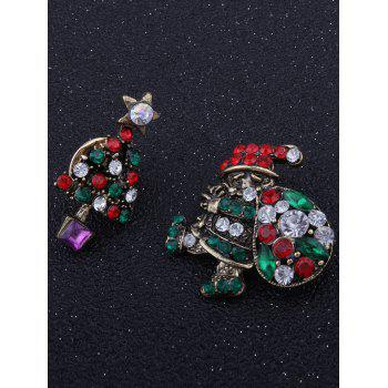 Rhinestone Christmas Santa Tree Star Broches - Vert