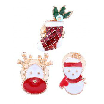 3PCS Christmas Elk Snowman Stocking Brooches - RED RED
