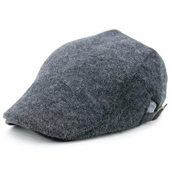 Two Sides Adjuastable Buckles Knit Cabbie Hat - DEEP GRAY DEEP GRAY
