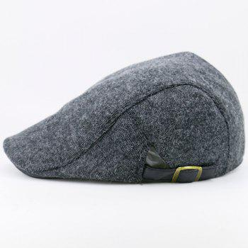 Two Sides Adjustable Buckles Knit Cabbie Hat - DEEP GRAY