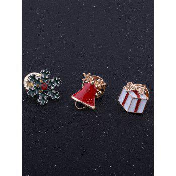 Christmas Snowflake Bell Bows Gift Brooches - RED