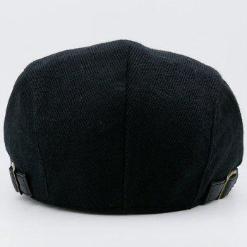 Two Sides Adjuastable Buckles Knit Cabbie Hat - BLACK