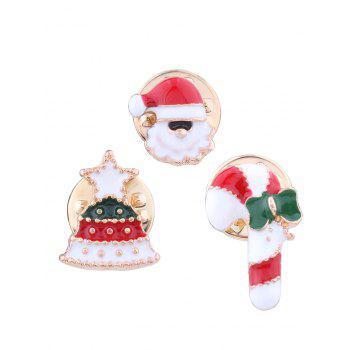 Christmas Santa Star Tree Candy Cane Brooches - RED RED