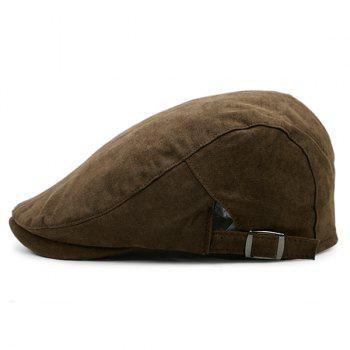 Plain Two Sides Adjustable Buckles Cabbie Hat - COFFEE COFFEE
