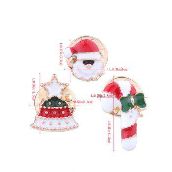 Christmas Santa Star Tree Candy Cane Brooches -  RED