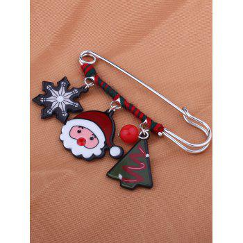 Christmas Santa Snowflake Tree Bead Brooch - RED