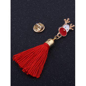 Christmas Decoration Elk Tassel Brooch - RED