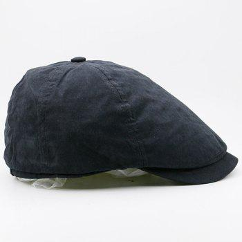Small Alloy Label Embellished Plain Cabbie Hat -  BLACK