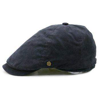 Small Alloy Label Embellished Plain Cabbie Hat - BLACK BLACK