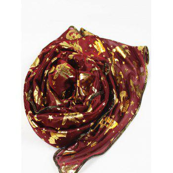 Halloween Bat Pumpkin Witch Stars Gilding Scarf - WINE RED