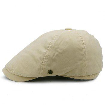 Small Alloy Label Embellished Plain Cabbie Hat - KHAKI KHAKI