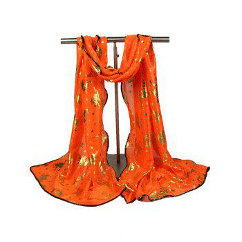 Halloween Bat Pumpkin Witch Stars Gilding Scarf - ORANGE ORANGE