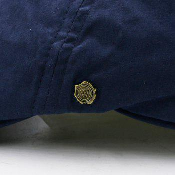 Small Alloy Label Embellished Plain Cabbie Hat - DEEP BLUE