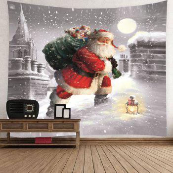 Santa Claus Walking In the Snow Patterned Wall Tapestry - COLORFUL W79 INCH * L59 INCH