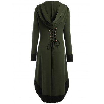 Lace-up Plus Size Hooded High Low Coat - ARMY GREEN 2XL