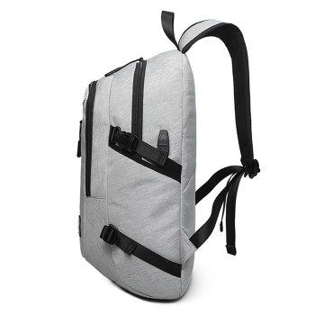 Zips Buckle Strap USB Charging Port Backpack - GRAY
