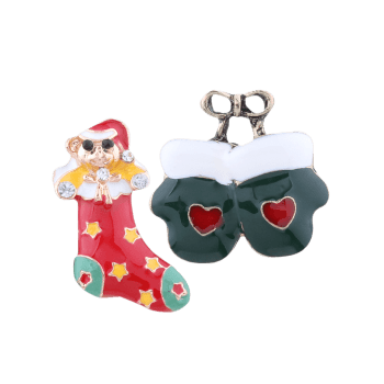 Christmas Stocking Heart Bows Gloves Brooches - COLORMIX