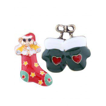 Christmas Stocking Heart Bows Gloves Brooches - COLORMIX COLORMIX