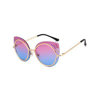 Rhinestones Cat Eye Mirror Sunglasses - VIOLET BLUE VIOLET BLUE