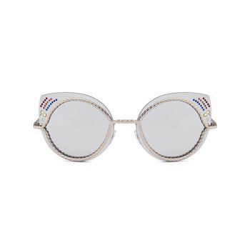Rhinestones Cat Eye Mirror Sunglasses -  SILVER