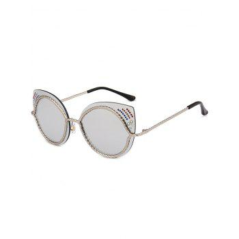 Rhinestones Cat Eye Mirror Sunglasses - SILVER SILVER