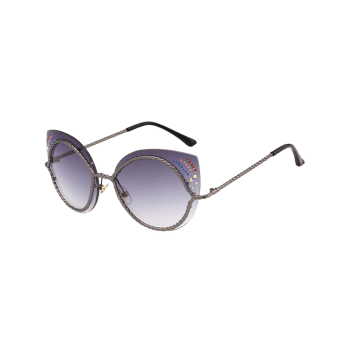 Rhinestones Cat Eye Mirror Sunglasses -  GRAY