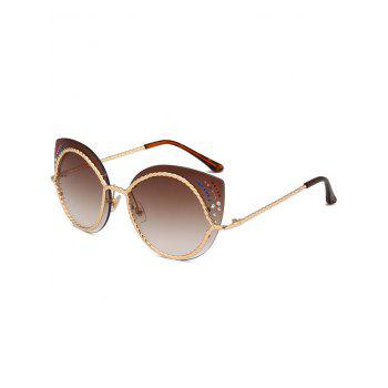 Rhinestones Cat Eye Mirror Sunglasses - TEA-COLORED TEA COLORED