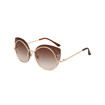 Rhinestones Cat Eye Mirror Sunglasses -  TEA COLORED
