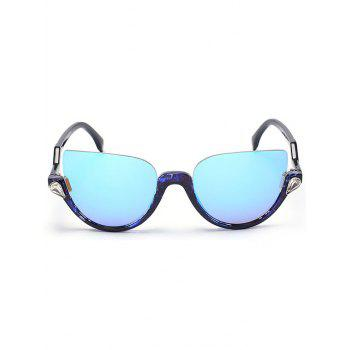 Half Frame Zigzag Legs Cat Eye Sunglasses -  TRANSPARENT BLUE FRAME / BLUE LENS