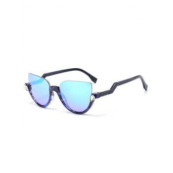 Half Frame Zigzag Legs Cat Eye Sunglasses - TRANSPARENT BLUE FRAME + BLUE LENS TRANSPARENT BLUE FRAME / BLUE LENS