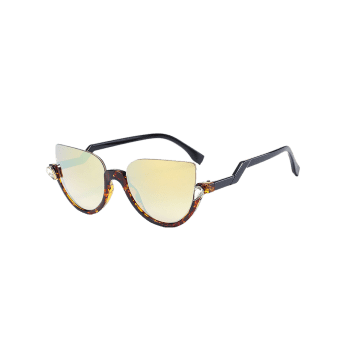 Half Frame Zigzag Legs Cat Eye Sunglasses -  LEOPARD GOLD COLOR LENS