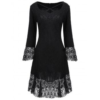 Sweetheart Neck Brocade Lace Dress - BLACK S