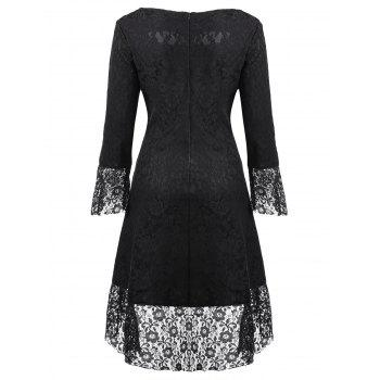 Sweetheart Neck Brocade Lace Dress - Noir L