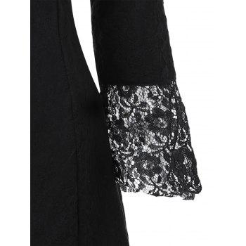 Sweetheart Neck Brocade Lace Dress - BLACK BLACK