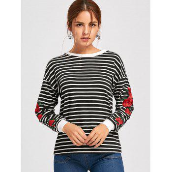 Floral Embroidered Crew Neck Drop Shoulder Sweatshirt - BLACK M
