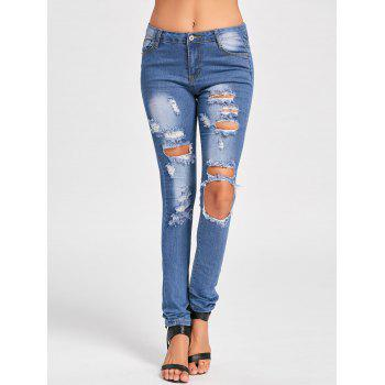 Skinny Distressed Cut Out Jeans - BLUE S