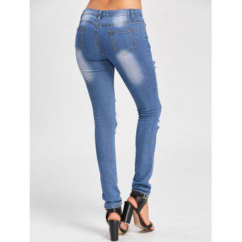 Skinny Distressed Cut Out Jeans - Bleu S
