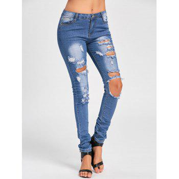 Skinny Distressed Cut Out Jeans - BLUE L