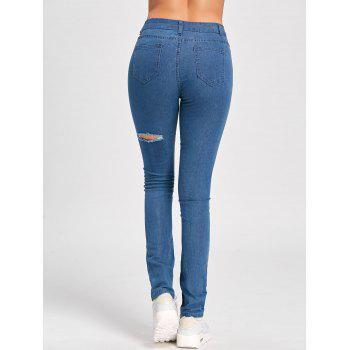 Skinny Ladder Distressed Jeans - BLUE BLUE