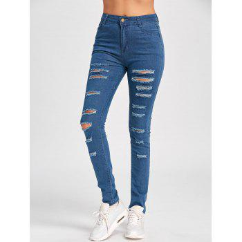 Skinny Ladder Distressed Jeans - BLUE L