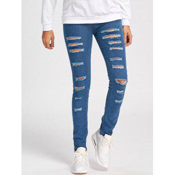 Skinny Ladder Distressed Jeans - L L