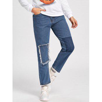 Patched Cropped Jeans - M M
