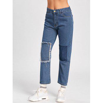 Patched Cropped Jeans - L L