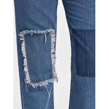 Patched Cropped Jeans - BLUE XL
