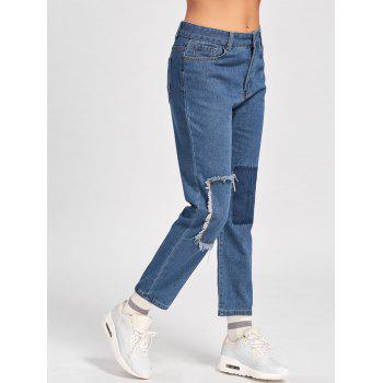 Patched Cropped Jeans - BLUE BLUE