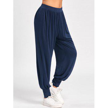 High Waisted Buttoned Harem Pants - DEEP BLUE DEEP BLUE