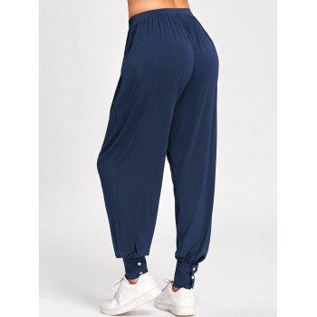 High Waisted Buttoned Harem Pants - DEEP BLUE XL
