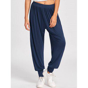 High Waisted Buttoned Harem Pants - DEEP BLUE 2XL